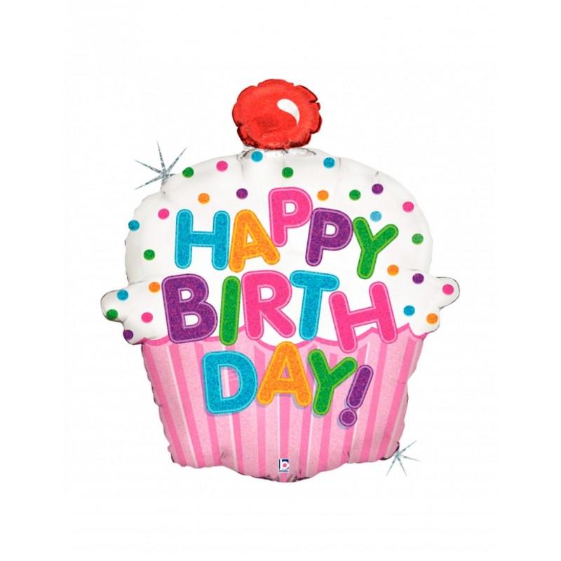 Formballon Cupcake Happy Birthday 71 cm