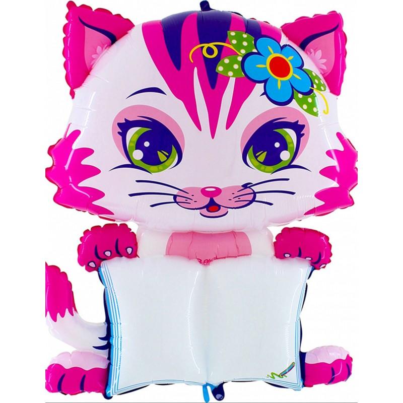 Formballon Kätzchen rosa personalisierbar 130 cm