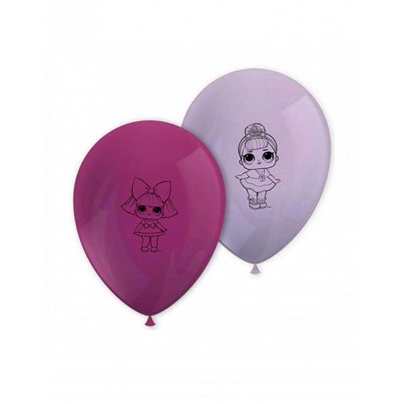 8x LOL Glitter Latex Luftballons