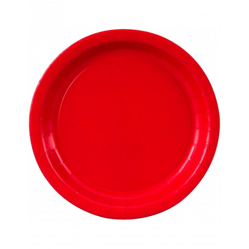 8 RED PLATES 23CM