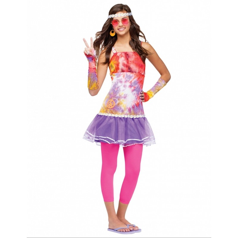 HIPPIE GIRL ''I LOVE 60'S'' TEEN COSTUME (14-16 YRS)