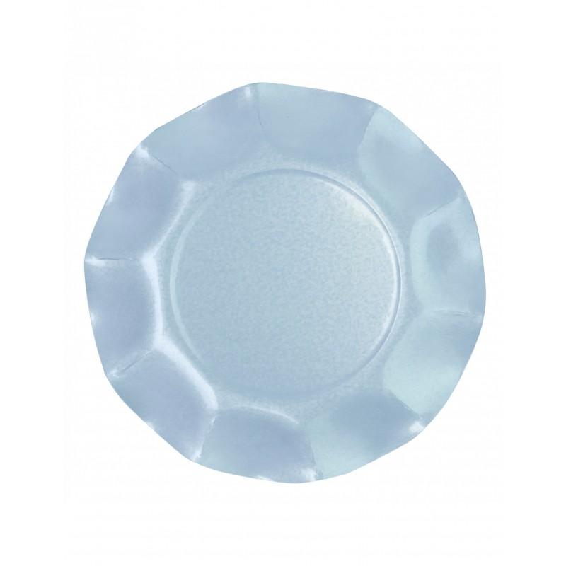 PEARLISED PASTEL BLUE PAPER PLATES 27 CM (10 CT.)